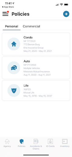 Screenshot of condo, auto, and life insurance policy information within Insurance Agent App.