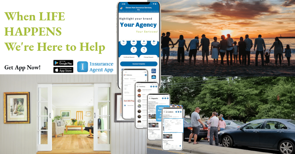 Collage of insurance customers and Insurance Agent App on different devices with words when life happens we're here to help.
